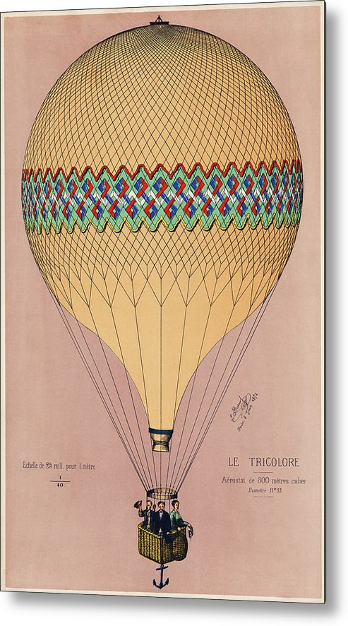 The Tricolor Balloon Ascension In Paris, June 6th 1874. Original - Metal Print from Wallasso - The Wall Art Superstore