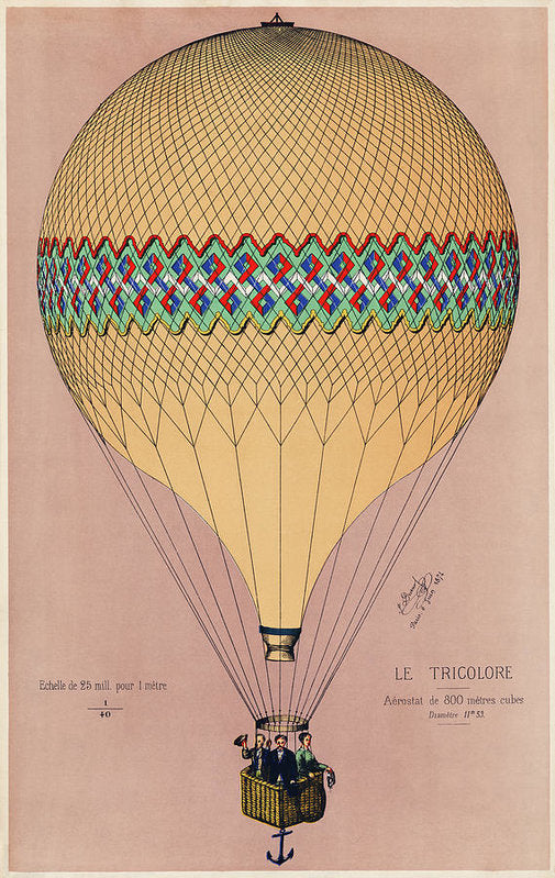 The Tricolor Balloon Ascension In Paris, June 6th 1874. Original - Art Print from Wallasso - The Wall Art Superstore