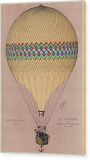 The Tricolor Balloon Ascension In Paris, June 6th 1874. Original - Wood Print from Wallasso - The Wall Art Superstore