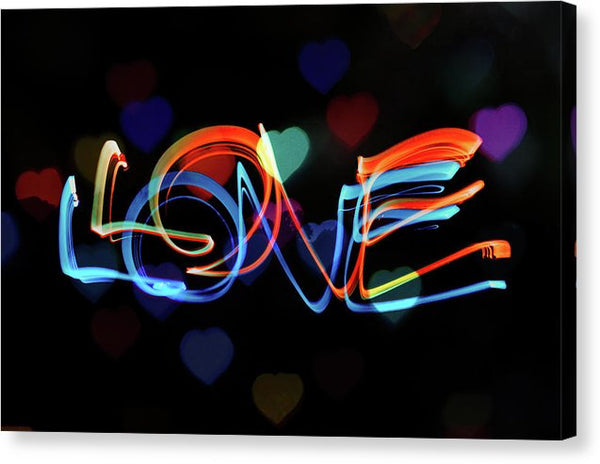 The Word Love Painting With Light - Canvas Print from Wallasso - The Wall Art Superstore