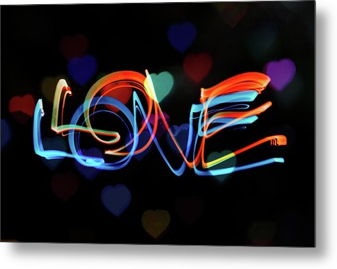 The Word Love Painting With Light - Metal Print from Wallasso - The Wall Art Superstore