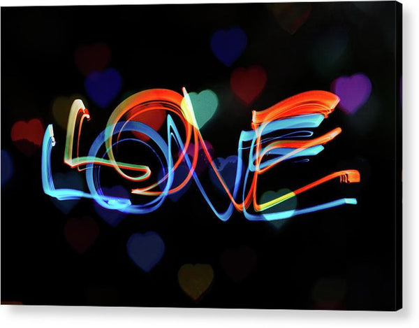 The Word Love Painting With Light - Acrylic Print from Wallasso - The Wall Art Superstore
