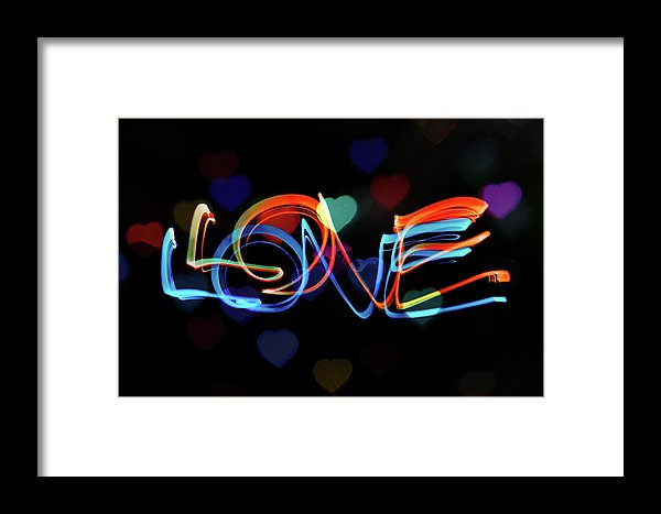 The Word Love Painting With Light - Framed Print from Wallasso - The Wall Art Superstore
