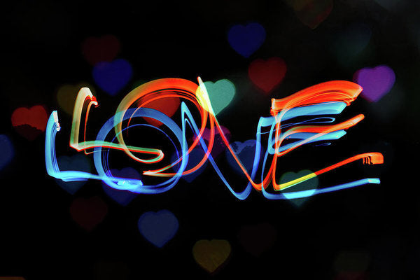 The Word Love Painting With Light - Art Print from Wallasso - The Wall Art Superstore