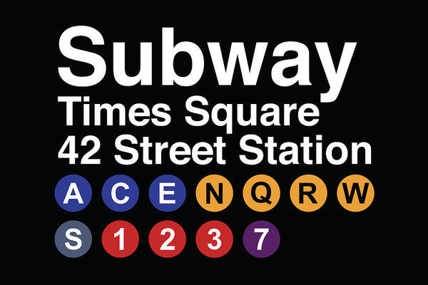 Times Square New York City Subway Sign - Art Print from Wallasso - The Wall Art Superstore
