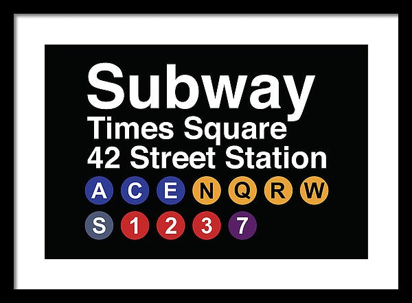 Times Square New York City Subway Sign - Framed Print from Wallasso - The Wall Art Superstore