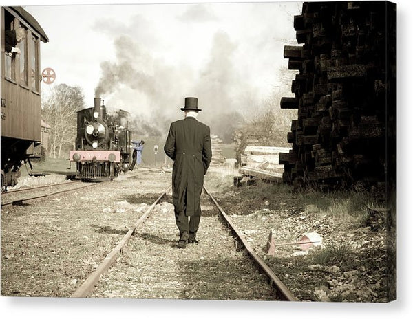 Top Hat Man In Rail Yard - Canvas Print from Wallasso - The Wall Art Superstore