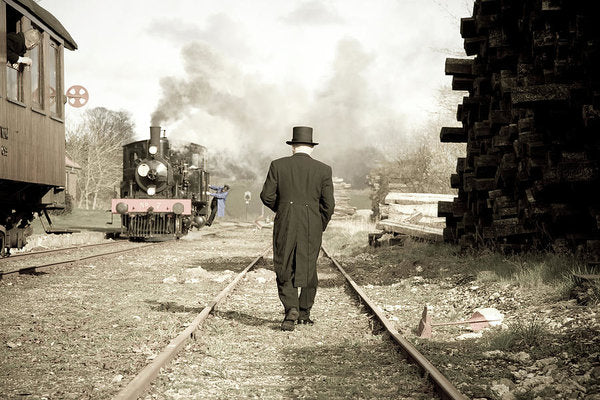 Top Hat Man In Rail Yard - Art Print from Wallasso - The Wall Art Superstore