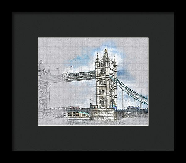 Tower Bridge Drawing In Progress - Framed Print from Wallasso - The Wall Art Superstore