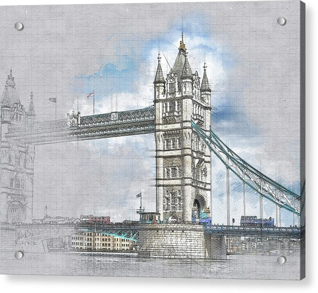 Tower Bridge Drawing In Progress - Acrylic Print from Wallasso - The Wall Art Superstore