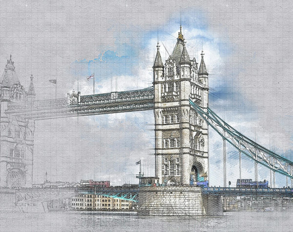 Tower Bridge Drawing In Progress - Art Print from Wallasso - The Wall Art Superstore