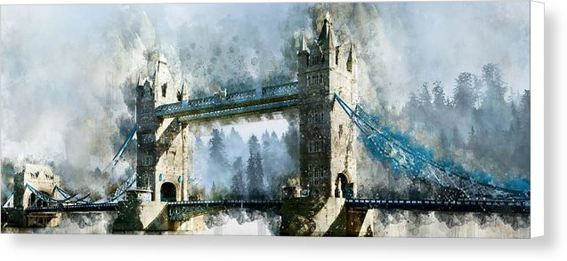 Tower Bridge Painting, Panoramic - Canvas Print from Wallasso - The Wall Art Superstore
