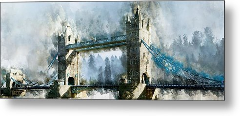 Tower Bridge Painting, Panoramic - Metal Print from Wallasso - The Wall Art Superstore