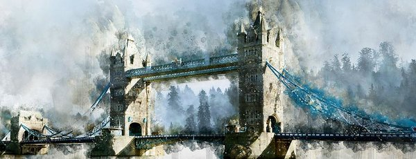 Tower Bridge Painting, Panoramic - Art Print from Wallasso - The Wall Art Superstore