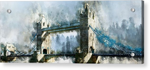 Tower Bridge Painting, Panoramic - Acrylic Print from Wallasso - The Wall Art Superstore