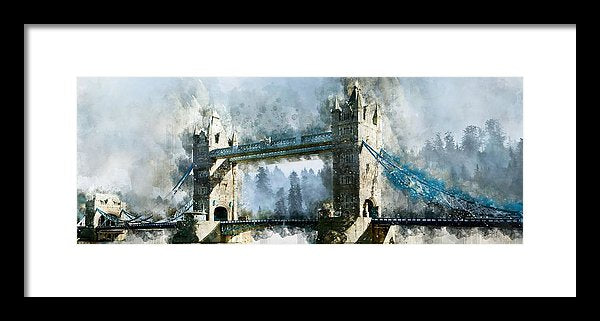 Tower Bridge Painting, Panoramic - Framed Print from Wallasso - The Wall Art Superstore