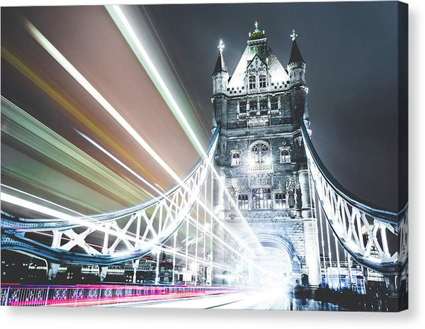 Tower Bridge With Colorful Light Trails - Canvas Print from Wallasso - The Wall Art Superstore