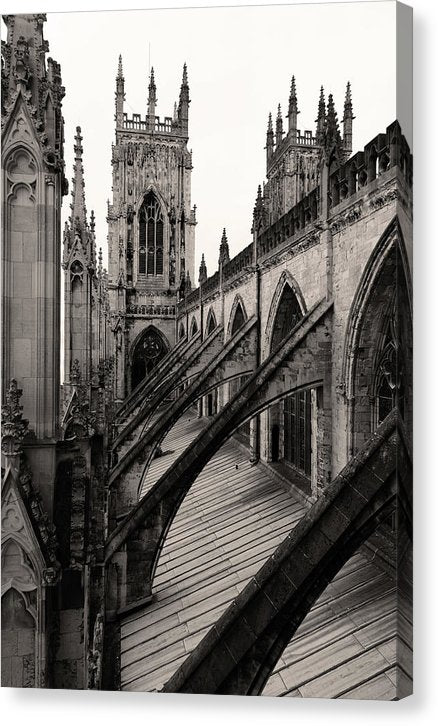 Towers and Buttresses of York Minster Church - Canvas Print from Wallasso - The Wall Art Superstore