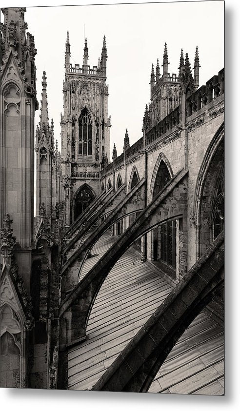 Towers and Buttresses of York Minster Church - Metal Print from Wallasso - The Wall Art Superstore