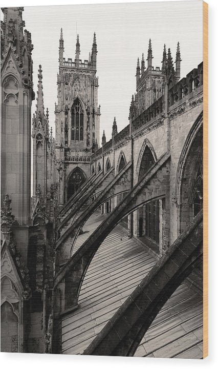 Towers and Buttresses of York Minster Church - Wood Print from Wallasso - The Wall Art Superstore