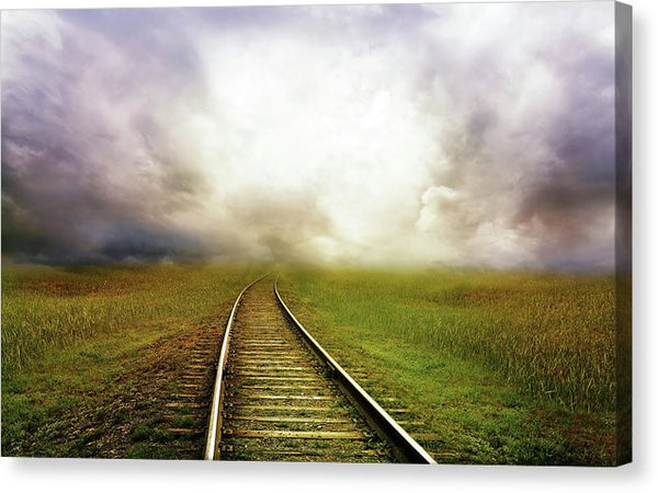 Train Tracks Disappearing Into Horizon Clouds - Canvas Print from Wallasso - The Wall Art Superstore