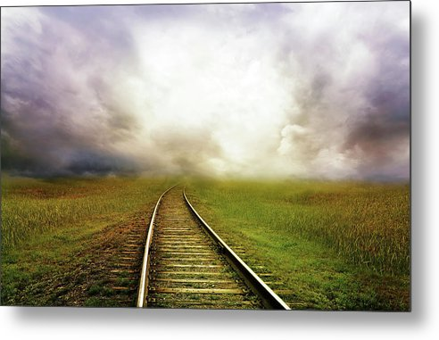 Train Tracks Disappearing Into Horizon Clouds - Metal Print from Wallasso - The Wall Art Superstore