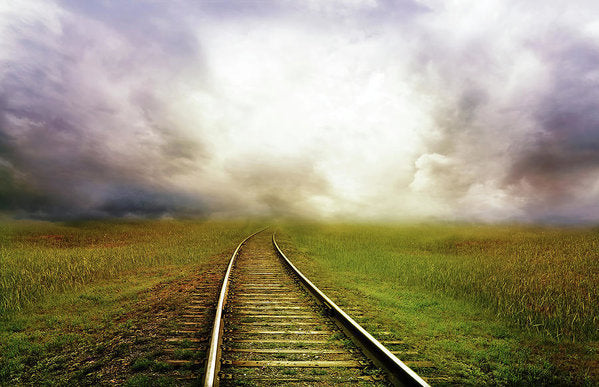 Train Tracks Disappearing Into Horizon Clouds - Art Print from Wallasso - The Wall Art Superstore
