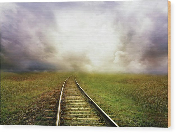 Train Tracks Disappearing Into Horizon Clouds - Wood Print from Wallasso - The Wall Art Superstore