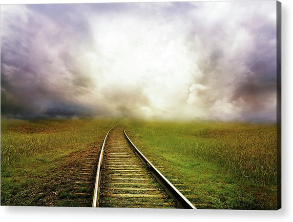 Train Tracks Disappearing Into Horizon Clouds - Acrylic Print from Wallasso - The Wall Art Superstore
