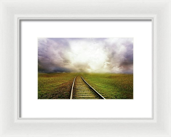 Train Tracks Disappearing Into Horizon Clouds - Framed Print from Wallasso - The Wall Art Superstore