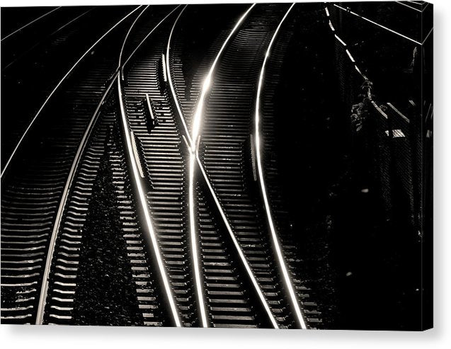 Train Tracks Glimmering In Sunlight - Canvas Print from Wallasso - The Wall Art Superstore