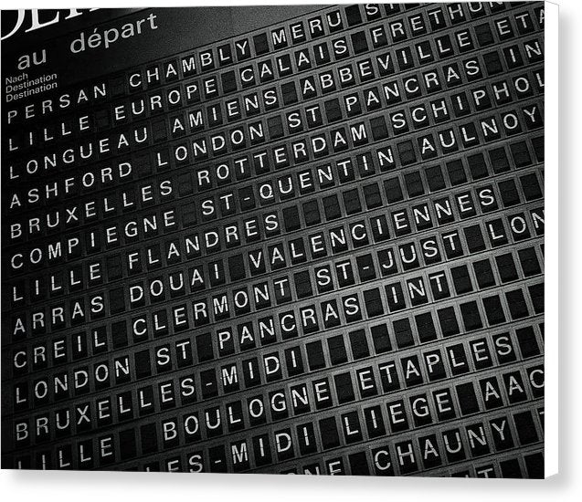 Travel Destination Board - Canvas Print from Wallasso - The Wall Art Superstore
