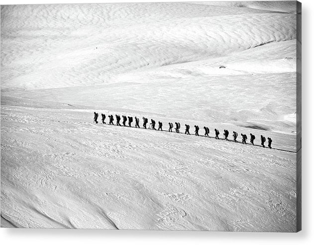 People Trekking Through Snow - Acrylic Print from Wallasso - The Wall Art Superstore