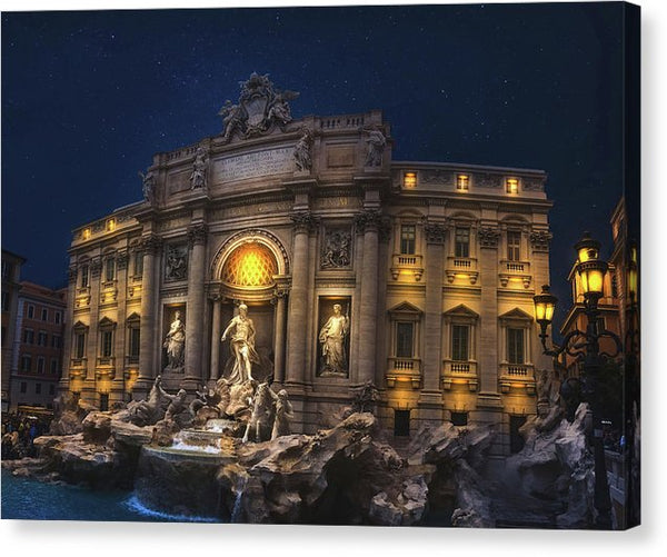 Trevi Fountain At Night In Rome Italy - Canvas Print from Wallasso - The Wall Art Superstore