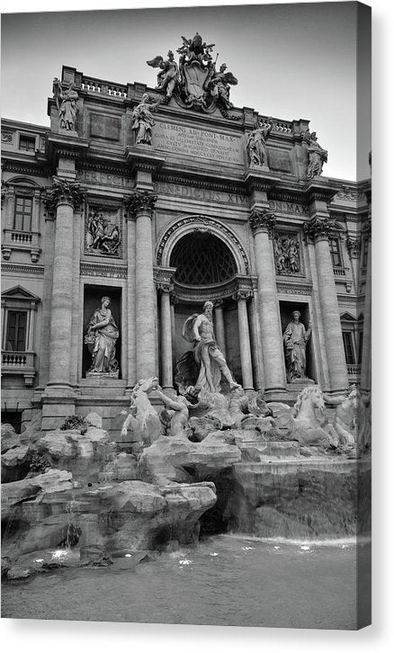 Trevi Fountain In Rome Italy, Black and White - Canvas Print from Wallasso - The Wall Art Superstore