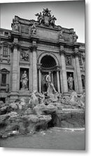 Trevi Fountain In Rome Italy, Black and White - Metal Print from Wallasso - The Wall Art Superstore