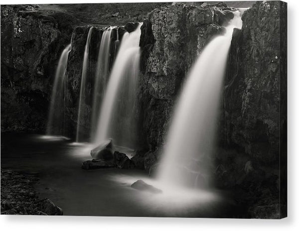 Triple Waterfalls In Iceland, Sepia - Canvas Print from Wallasso - The Wall Art Superstore