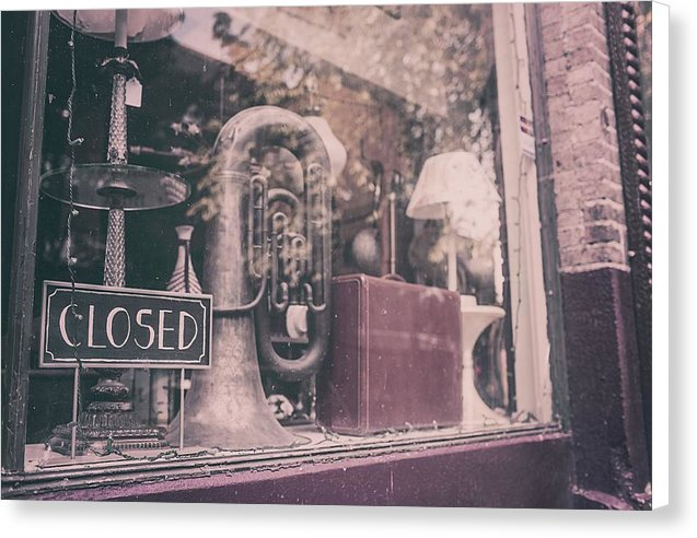 Tuba In Music Store Window - Canvas Print from Wallasso - The Wall Art Superstore