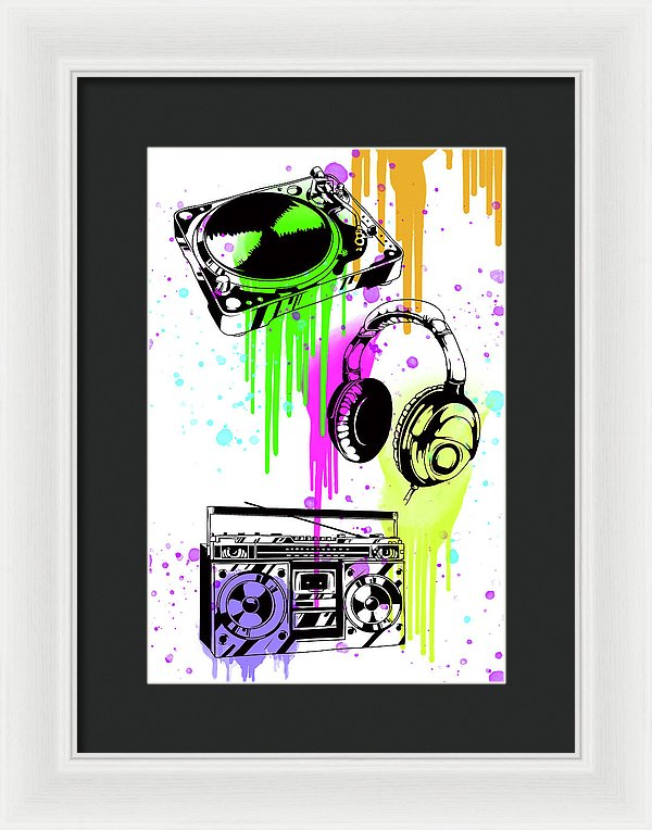 Turntable Headphone Boombox Street Art Graffiti Design - Framed Print from Wallasso - The Wall Art Superstore