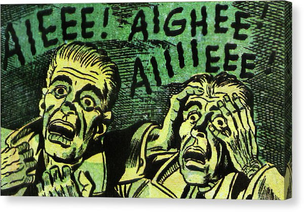 Two Scared Men, Vintage Comic Book Panel - Canvas Print from Wallasso - The Wall Art Superstore