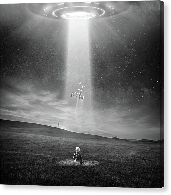 Ufo Abducting Tricycle, Black and White - Canvas Print from Wallasso - The Wall Art Superstore