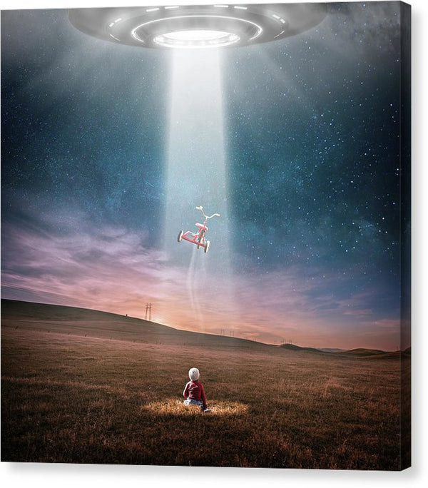 Ufo Abducting Tricycle - Canvas Print from Wallasso - The Wall Art Superstore
