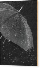 Umbrella In The Rain, Black and White - Wood Print from Wallasso - The Wall Art Superstore