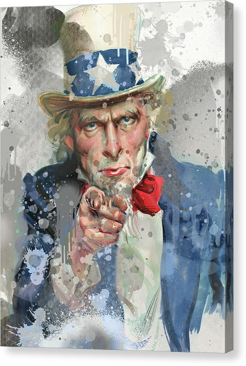 Uncle Sam I Want You Grey Pop Art - Canvas Print from Wallasso - The Wall Art Superstore