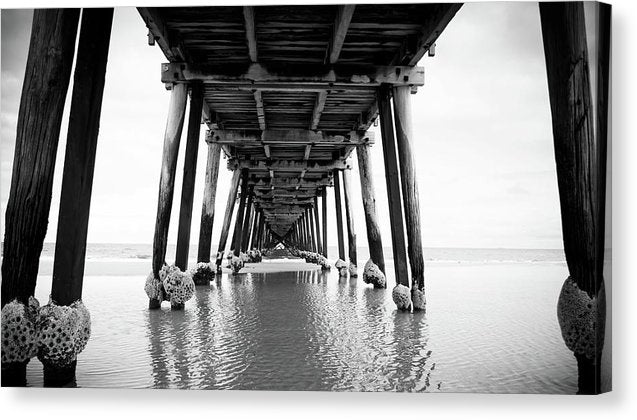 Under Wooden Pier With Posts - Canvas Print from Wallasso - The Wall Art Superstore