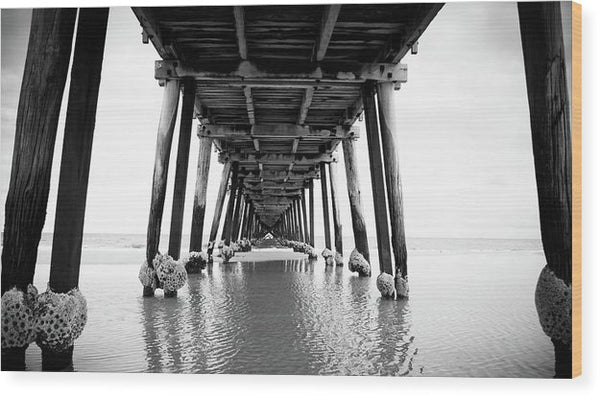 Under Wooden Pier With Posts - Wood Print from Wallasso - The Wall Art Superstore