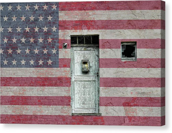 Unique American Flag Wall With Wood Door and Window - Canvas Print from Wallasso - The Wall Art Superstore