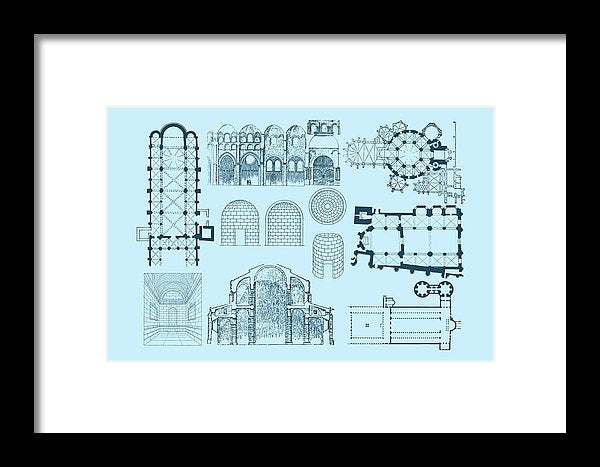 Unique Architectural Plan For Cathedral - Framed Print from Wallasso - The Wall Art Superstore