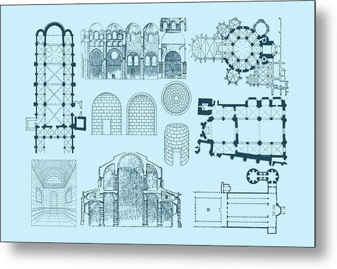 Unique Architectural Plan For Cathedral - Metal Print from Wallasso - The Wall Art Superstore