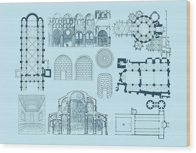Unique Architectural Plan For Cathedral - Wood Print from Wallasso - The Wall Art Superstore